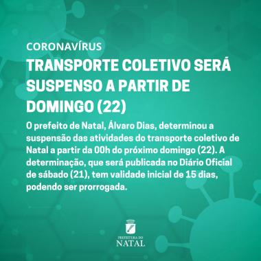 Transporte coletivo será suspenso a partir de domingo (22)