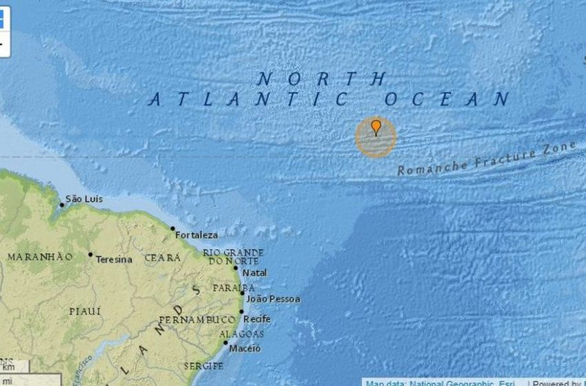 Tremor de magnitude 6,5 na escala Richter é registrado no oceano a 960 km de Natal