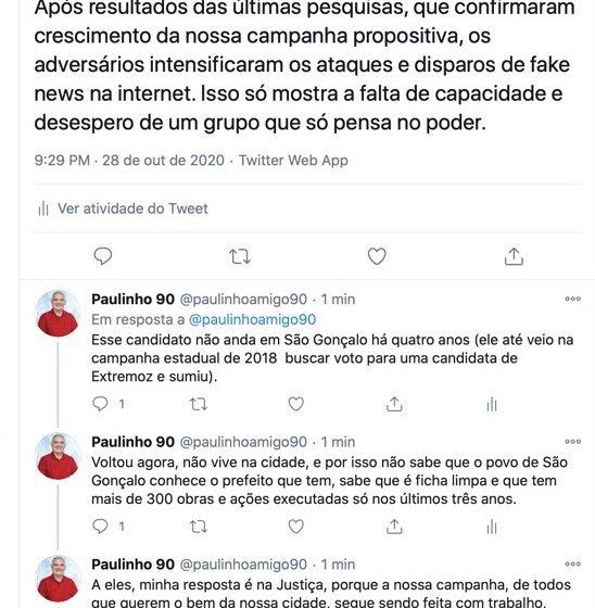 Paulinho alerta população para fake news na eleição em São Gonçalo; gestor diz que está acionando a justiça