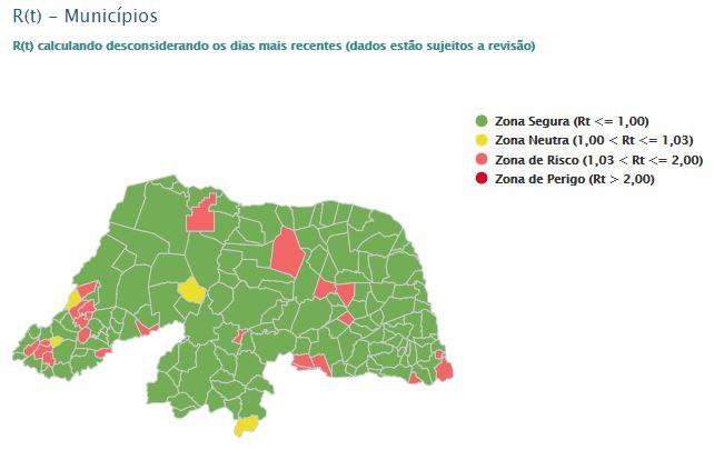 RN tem 24 municípios em zona de risco para taxa de transmissibilidade da covid-19; 139 estão em área segura